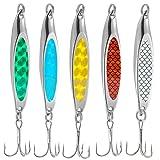 WYMAODAN - Juego de señuelos de pesca, 5 unidades, de metal, con cebo duro, para pesca de agua salada, trucha y salmón (21 g)