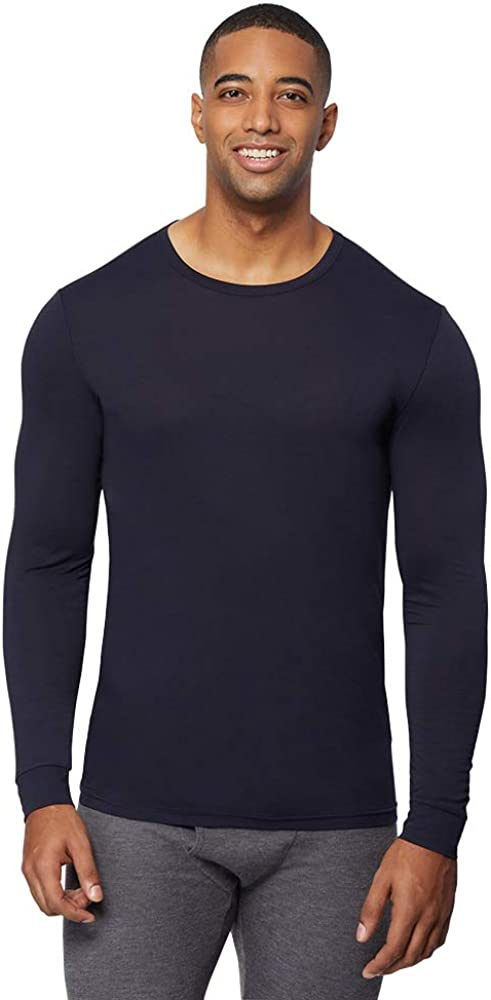32 DEGREES Mens Heat Performance Thermal Baselayer Crewneck Long Sleeve Top, Stormy Night, X-Large