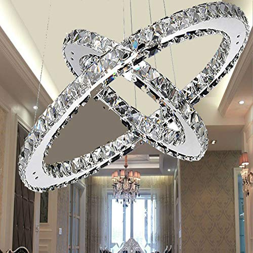 OUKANING 48w Kristall Pendelleuchten LED Dimmbar Fernbedienung Hängelampe Zwei Ringe Esszimmer Wohnzimmer Deckenlampe Modern Kronleuchter Hängeleuchte Energie Sparen einstellbar