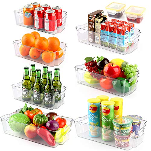 Set of 9 Refrigerator Organizer Bins Stackable Fridge Organizers with Handles for Freezer, Kitchen, Countertop, Cabinets - BPA Free Clear Plastic Pantry Food Storage Racks