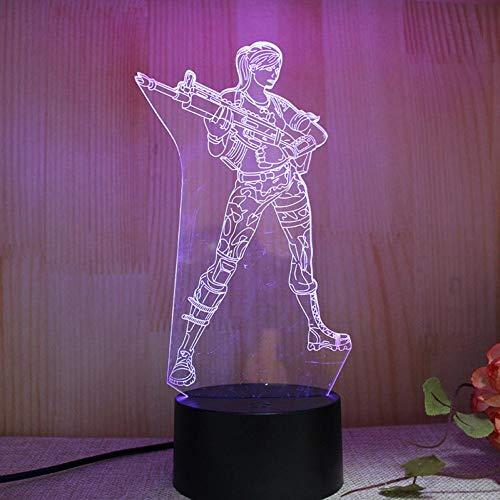 Yujzpl 3D Illusion Lampe Led Nachtlicht Mit 7 Farben Flashing & Touch-Schalter,Für Schlafzimmer Kinder Weihnachts Valentine Geburtstag Geschenk[Energieklasse A++]Schön Bewaffnet