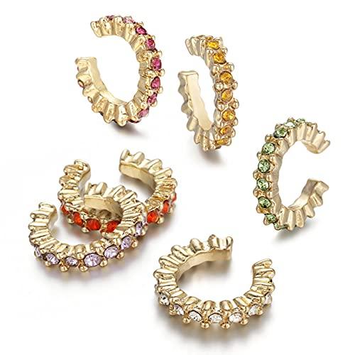 Conjunto de 5 Pares de Pendientes de aro pequeños de Cobre con Giro Redondo a la Moda para Mujer, joyería de Pendiente de Cadena Larga de Cristal CZ de Oro Simple