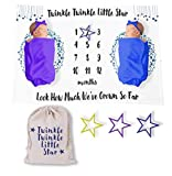 Twinkle Twinkle Little Star Twin Baby Milestone Growth Blanket for Boys or Girls with Canvas Bag and Star Markers for Progress - 60' x 40'