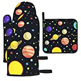 Solar System Oven Mitts And Pot Holders Resistant Non-Slip Kitchen Mitten Cooking For Kitchen, Baking