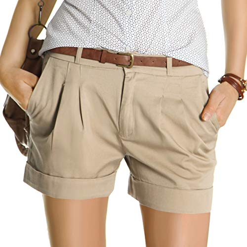 bestyledberlin Damen Shorts, Kurze Chino Hosen, Damenhosen, Bundfaltenhosen j161p 36/S beige