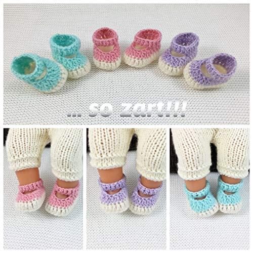 Ganz zarte Puppen Schuhe Ballerinas Sandalen für Füße 5,5 -6 cm (leicht dehnbar), für eine Baby Puppe ca. 40-45 cm, gestrickt, gehäkelt, Handarbeit, Handmade, NEU