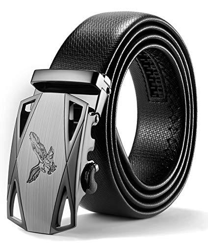 ITIEZY Herren Gürtel Ratsche Automatik Gürtel für Männer 35mm Breit Ledergürtel, Schwarz 103, Länge: Bis zu 49,21 Inches (125cm)