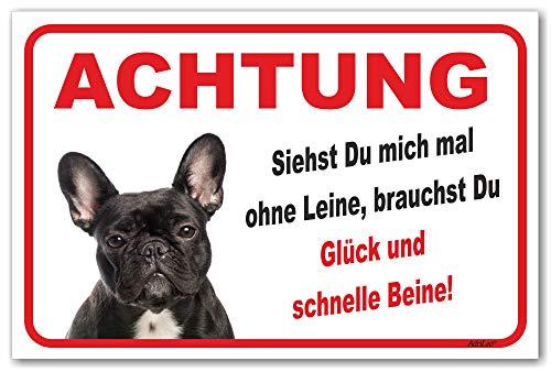 AdriLeo Schild - Vorsicht Schwarze französische Bulldogge - Ohne Leine - (20x30cm) / Achtung Hund Wachhund