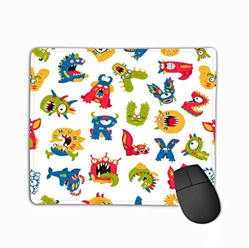 Mousepad rutschfestes Gummi Personalisiert Einzigartiges Gaming-Mauspad Nahtloses Muster Verschiedene Monster Weiß Ausgezeichneter Druck Kinder spucken Papiertapete