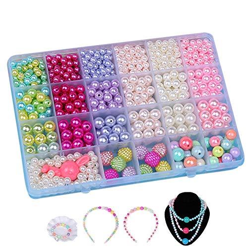 Perlen Basteln,Perlen für Armbänder Kinder Kunststoff Armband Basteln für Mädchen in PVC Box als Geschenk für Halsketten Armbänder Stirnband Ring 800pieces