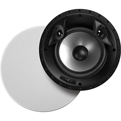 Polk Audio 80F/X-RT in-Ceiling 2-Way Round Surround Speakers - 8' Woofer, Dual 3/4' Tweeters | 100 Watts | Paintable Sheer Grille | White, Pair
