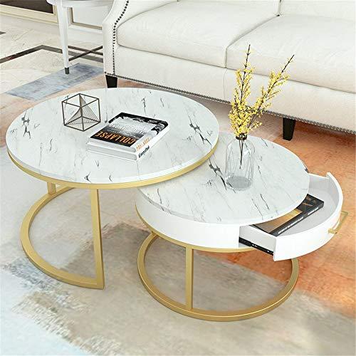 Satztisch Marmor Couchtisch mit Schublade Wohnzimmer Teetisch Kombination for Privatanwender Balkon Wohnzimmer Wird als kleiner Beistelltisch für Nachttische ver ( Color : A , Size : 80x45+60x40 )