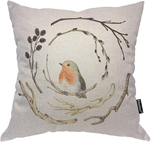 nonbrand Birds Throw Pillow Case Nature Cute Animal Robin Bird on Winter Bear Tree Branch Pillow Cover Decorative Square Cushion Accent Cotton Linen 20x20 Inch for Sofa Chair