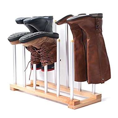 INNOKA 6 Pairs Boot Rack Organizer, Standing Wooden & Aluminum Storage Holder Hanger For Riding Boots, Rain Boots, Shoes - Easy to Assemble, Space-Saving, Keep Boots In Shape, Home Essentials