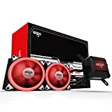 Aigo Water Liquid CPU Cooler T240 240mm Radiator Quiet Fan Water Cooler Easy Installation All-in-One Liquid CPU Cooler with Led Halo White Lights, Intel/AMD with AM4 Support (240mm Red)