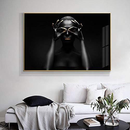 Arte africano negro y dorado mujer pintura sobre lienzo carteles e impresiones escandinavo cuadro de arte de pared decoración del hogar 30x50 cm / 11,8'x 19,7' sin marco