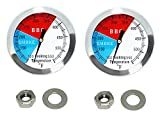 2 inch BBQ Thermometer Gauge 2 Pcs Charcoal Grill Pit Smoker Temp Gauge Grill Thermometer Replacement for Smoker Grill Wood Charcoal Pit, Grill Temp Thermometer