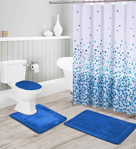 Luxury Home Collection 16-teiliges Badezimmerteppich-Set, geprägt, Memory-Schaum, rutschfest, inkl. Badematte, Konturmatte, WC-Deckelbezug, Duschvorhang & 12 Metall-Rollhaken (Königsblau)