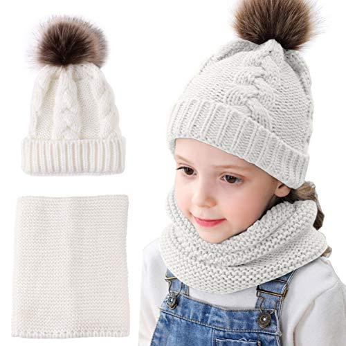 Mengqiy 2 Piezas para bebés y niños pequeños para bebés, Invierno, Gorro de Punto cálido, Gorro y Cuello, Bufanda Circular para niñas y niños