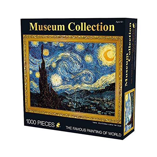 Daliyfu1000 Piece Jigsaw Puzzle - The Starry Night Vincent Willem Van Gogh Jigsaw Puzzles for Adult Teens Reduced Pressure Toy Gift The Starry Night Puzzle Art Educational Games Gift