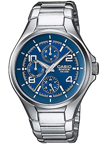 Casio Edifice Herrenarmbanduhr EF-316D-2AVEF, blau, massives Edelstahlgehäuse und Armband, 10 BAR