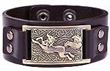 Wicca religiosa nórdico Viking irlandés nudo Running lobo símbolo brazalete pulsera de piel