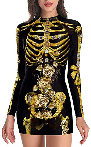 Women's Halloween Costume Skeleton Dress Sexy Mini Dress with Zipper,Gold,Small