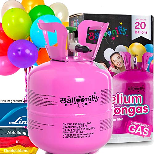 Carpeta BALLONGAS FÜR 20 Luftballons + 25 Ballons + FÜLLVENTIL | Helium Einweg Flasche Luftballon Folienballon Deko Geburtstag Party Hochzeit