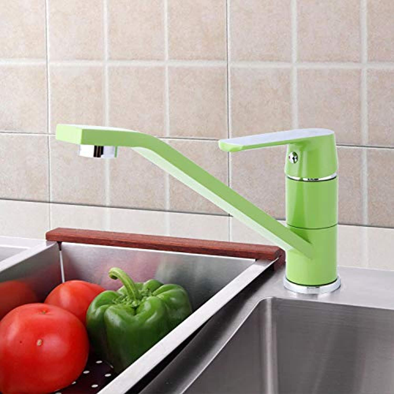 colorful Kitchen Sink Faucet, Hot And Cold Faucet, 360 Degree redation, Available In White orange And Green,Green