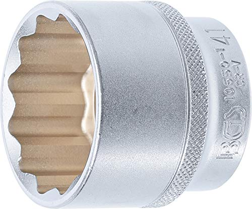 "BGS 10650-1 KS Tools 10650-1-Llave de vaso de 12 cantos (12,5 mm, 1/2\"", Cromado mate, Schlüsselweite: 41 mm"