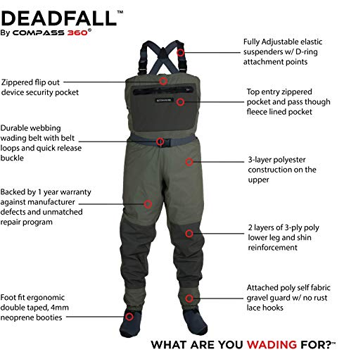 Compass 360 Deadfall Breathable STFT Chest Wader, Medium