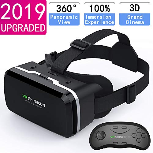 HD VR Headset with Remote Controller,3D Glasses Virtual Reality Headset for VR Games & 3D Movies, VR Headset for iPhone & Android Phone