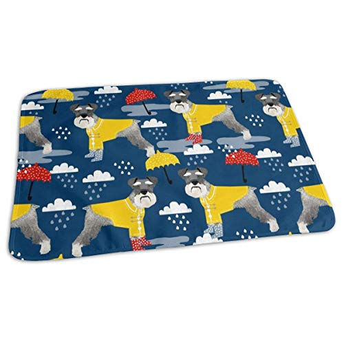 Schnauzer Regenjas Hond Stof Patroon Lente Navy, Baby Draagbare Herbruikbare Verwisselbare Pad Mat 25,5 x 31.5