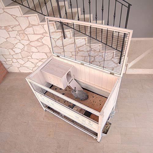 Ferplast Kaninchenstall Cottage Large, Indoor-Nagerstall aus Holz, Maße: 129 x 68 x 103,5 cm - 4