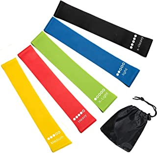 Newdora Resistance Loop Exercise Bands Set of 5 - Best Home Gym Fitness Exercise Bands for Legs, Glutes, Crossfit Workout, Physical Therapy Pilates Yoga & Rehab - Improve Mobility & Strength Training