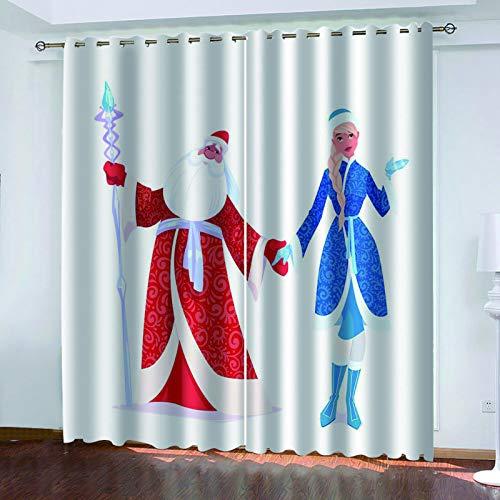 MMHJS Cortinas De Tela Impresas Navideñas En 3D, Sello Impermeable Reutilizable, Decoración De Paredes, Cortinas Verticales De Sombra De Dormitorio Y Sala De Estar (2 Piezas)