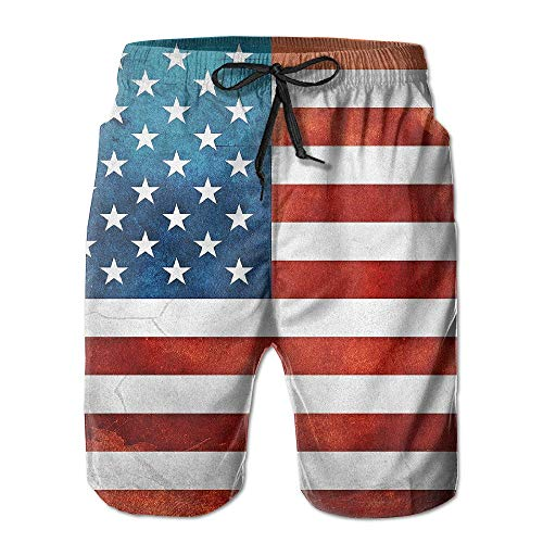 yting Herren Sportwear USA Amerika Flagge Sommer Breathable Badehose Strand Shorts Board Shorts, Größe L