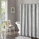Intelligent Design Raina Shower Curtain Printed Geometric Metallic Machine Washable Modern Home Bathroom Decorations, 72' x 72', Grey