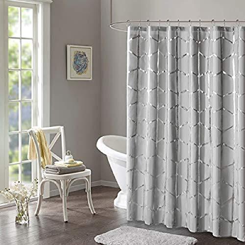 "Intelligent Design Raina Shower Curtain Printed Geometric Metallic Machine Washable Modern Home Bathroom Decorations, 72"" x 72"", Grey"