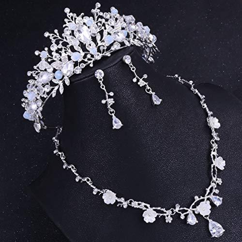 Beaupretty Brautschmuck Krone Tiara Ohrringe Collier-Set Zirkon eingelegte edle Kristalle Blumen Ohrringe Krone Halskette Hochzeit Kits