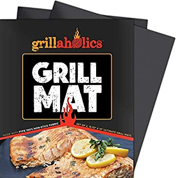 Grillaholics Grill Mat - Set of 2 Heavy Duty BBQ Grill Mats - Non Stick Reusable and Easy to Clean Barbecue Grilling Accessories - Lifetime Manufacturers Warranty