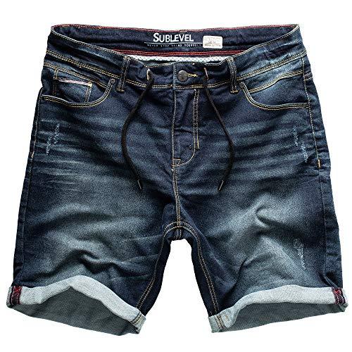Sublevel Hombre Jogg Pantalones Cortos Shorts de Jeans Bermudas Denim Pantalón Chándal Cargo JoggJeans Vintage Pantalón Cargo Used Look - Azul Oscuro Denim 27, 30W