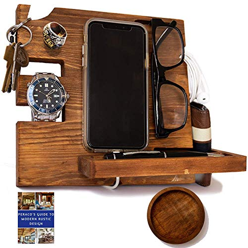 Peraco's Wooden Docking Station for Men and Nightstand Organizer