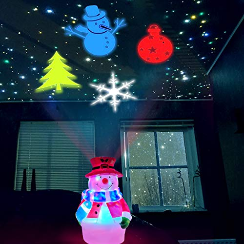 Snowman Christmas Light , USB Christmas Indoor Projector Light with Auto Rotating Snowman, Tree, Ball, and Snowflake Pattern Projection for Kids Christmas Room Decorations, New Year Xmas Gift