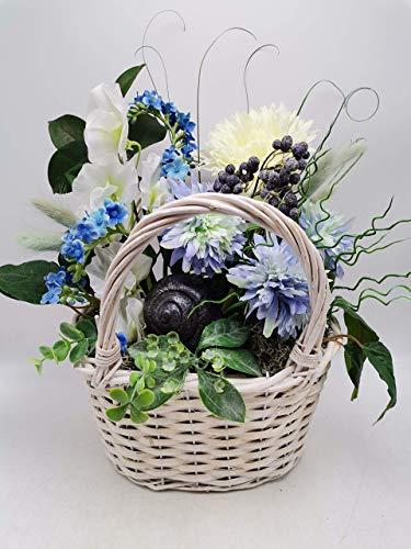 Gesteck Sommergesteck Blumengesteck Seidenblumen Gerbera Wicken Schnecke blau weiß