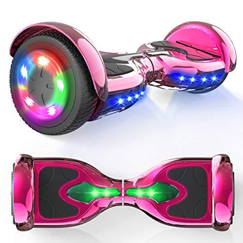 """MICROGO Hoverboards, Self Balance Scooter, 6,5 """"Elektroroller mit Bluetooth-Lautsprechern LED-Leuchten, Geschenk für Kinder und Jugendliche (Chromrose), Z5"""