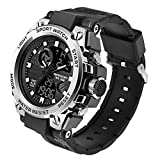 Men's Digital Sports Watch, Multi-Functions Dual-Display Tactical Watch for Men with Backlight (Silver)