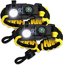 Nexfinity One Survival Paracord Bracelet - Tactical Emergency Gear Kit with SOS LED Light, Knife, 550 Grade, Adjustable, Multitools, Fire Starter, Compass, and Whistle - Set of 2 (Yellow)