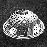 NOLOGO JS-mlx Cocina de la Herramienta Plegable del Plato de Acero Inoxidable de Vapor Vapor del alimento Cesta de Malla Vegetal Cocina del Vapor Ampliable Pannen (Color : Plata)