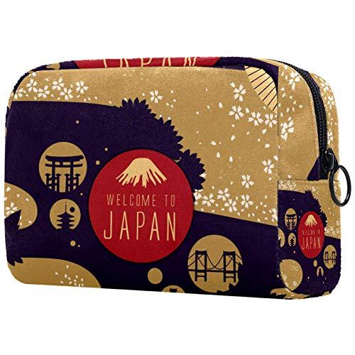 Bolsa de maquillaje de viaje (18,5 x 7,5 x 13 cm), póster de viaje de Japón de 18,5 x 7,5 x 13 cm (largo x ancho x alto). Bolsa de cosméticos de viaje